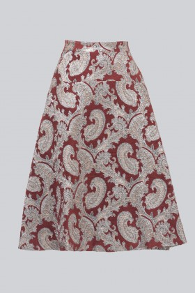 Burgundy skirt with brocaded silver pattern - Perseverance - Rent Drexcode - 2