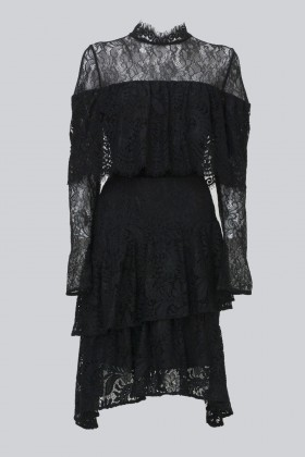 Short black dress with flounces and cape sleeves - Perseverance - Sale Drexcode - 2
