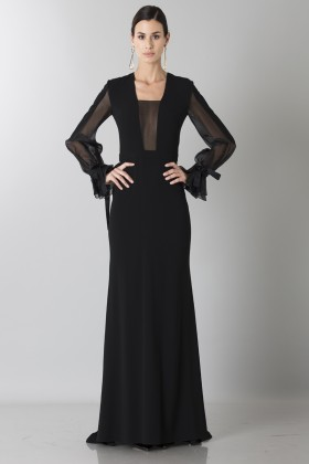 Silk dress with long sleeve and transparent neckline - Ports 1961 - Rent Drexcode - 1