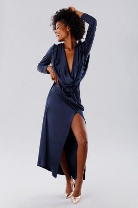 Blue dress with deep neckline - Rhea Costa - Rent Drexcode - 2