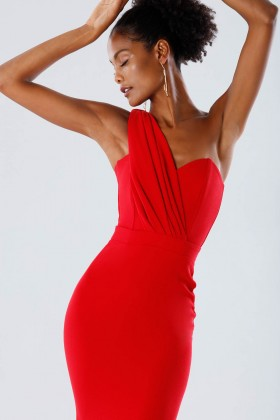 One-shoulder red mermaid dress - Rhea Costa - Sale Drexcode - 2