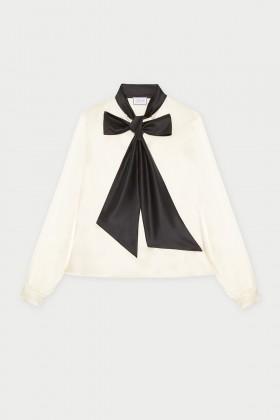 Camicia bianca in seta con fiocco nero - Redemption - Sale Drexcode - 2