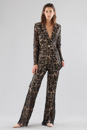 Black lace suit with sequins - Forever unique - Rent Drexcode - 1