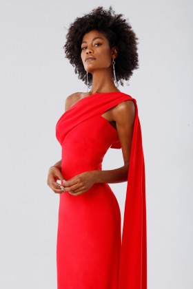 One-shoulder red dress with drapery - Tot-Hom - Sale Drexcode - 2