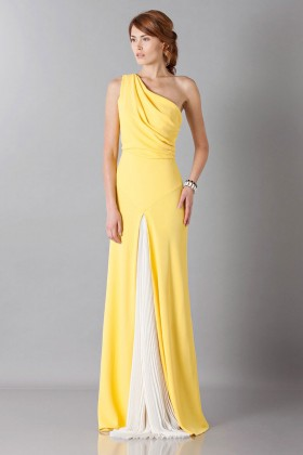 Yellow one-shoulder dress with front train - Vionnet - Rent Drexcode - 1