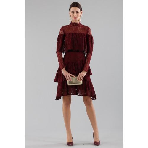 Vendita Abbigliamento Usato FIrmato - Short burgundy dress with flounces and cape sleeves - Perseverance - Drexcode -8