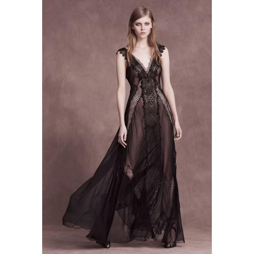 Vendita Abbigliamento Usato FIrmato - Long black dress with lace neckline - Alberta Ferretti - Drexcode -1