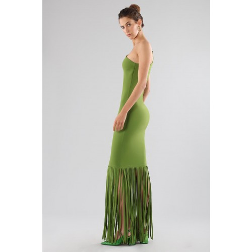Vendita Abbigliamento Usato FIrmato - Green one-shoulder dress with fringes - Chiara Boni - Drexcode -16