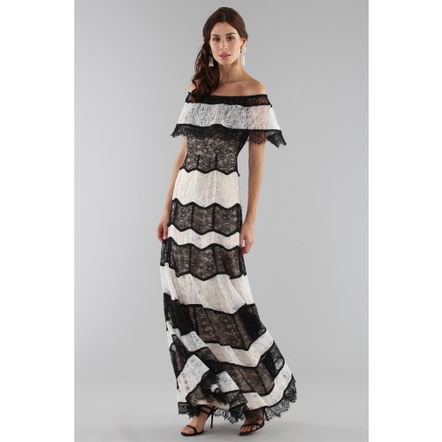 Vendita Abbigliamento Usato FIrmato - Striped lace off shoulder dress - Alice+Olivia - Drexcode -7
