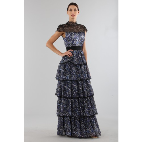 Vendita Abbigliamento Usato FIrmato - Blue dress with overlapping frills - Alice+Olivia - Drexcode -10