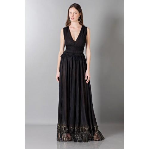 Vendita Abbigliamento Usato FIrmato - Long black dress with V-neck - Alberta Ferretti - Drexcode -2