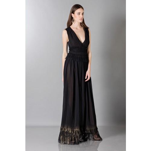 Vendita Abbigliamento Usato FIrmato - Long black dress with V-neck - Alberta Ferretti - Drexcode -3