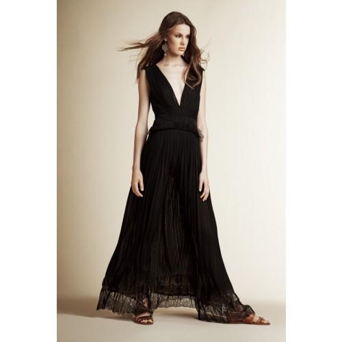 Vendita Abbigliamento Usato FIrmato - Long black dress with V-neck - Alberta Ferretti - Drexcode -7