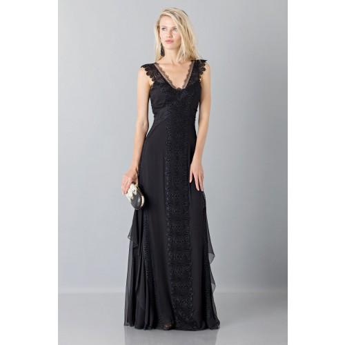 Vendita Abbigliamento Usato FIrmato - Long black dress with lace neckline - Alberta Ferretti - Drexcode -4