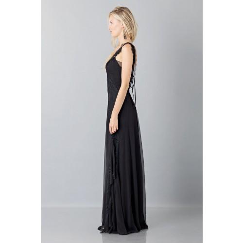 Vendita Abbigliamento Usato FIrmato - Long black dress with lace neckline - Alberta Ferretti - Drexcode -3