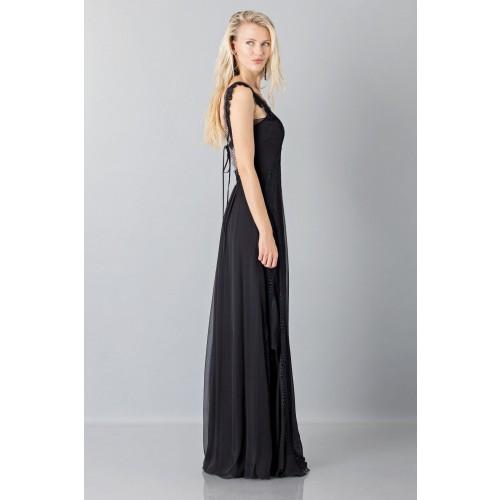 Vendita Abbigliamento Usato FIrmato - Long black dress with lace neckline - Alberta Ferretti - Drexcode -6