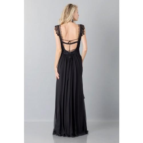 Vendita Abbigliamento Usato FIrmato - Long black dress with lace neckline - Alberta Ferretti - Drexcode -2