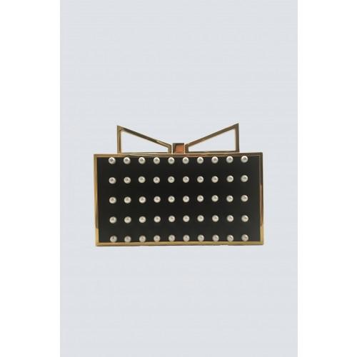 Vendita Abbigliamento Usato FIrmato - Black clutch with pearls - Anna Cecere - Drexcode -1