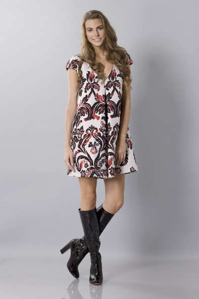 Brocade patterned dress