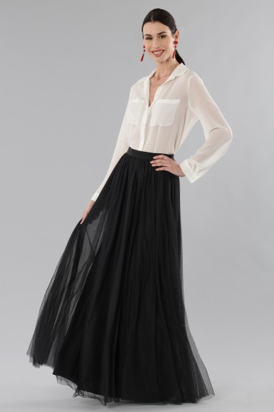 Long tulle skirt with embroidered polka dots