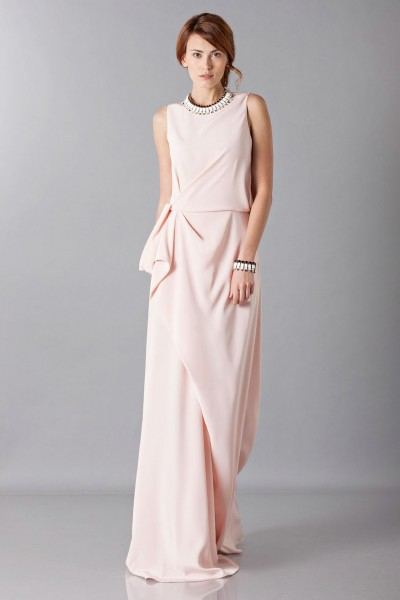 Dress with side drapery