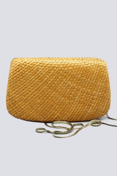 Clutch gialla in paglia con chiusura magnetica