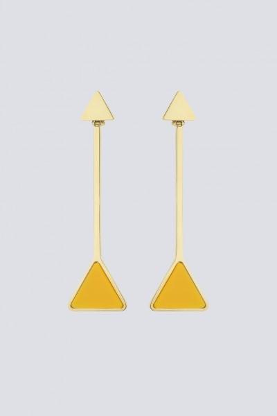 Orecchini pendenti in metallo e resina gialli
