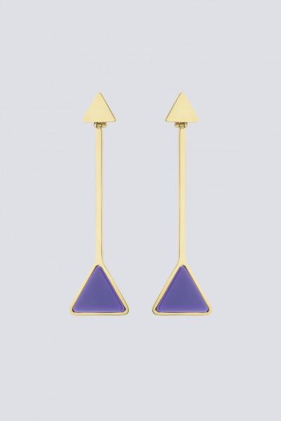 Orecchini pendenti in metallo e resina viola