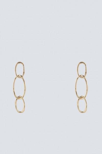 Golden oval chain drop earrings