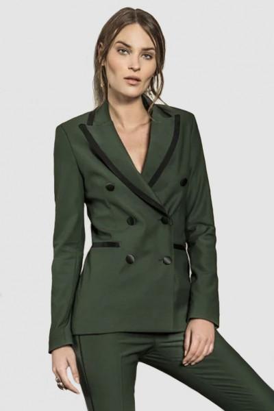 Giacca verde doppiopetto in lana