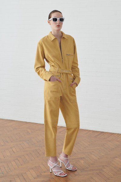 Jumpsuit gialla in suede