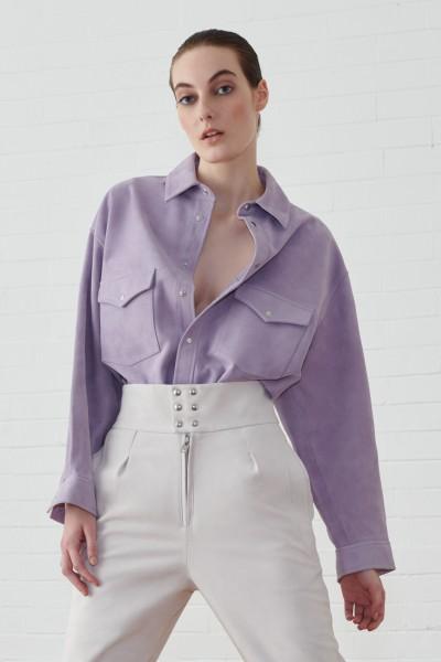 Camicia in suede lilla
