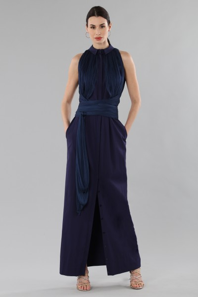 Shirtdress  with draped silk tulle