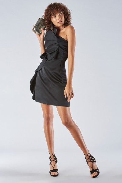 Short black dress with shoulder strap