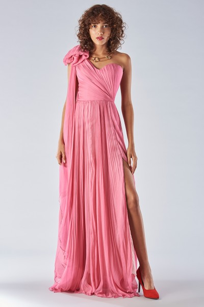 Fuchsia one-shoulder dress
