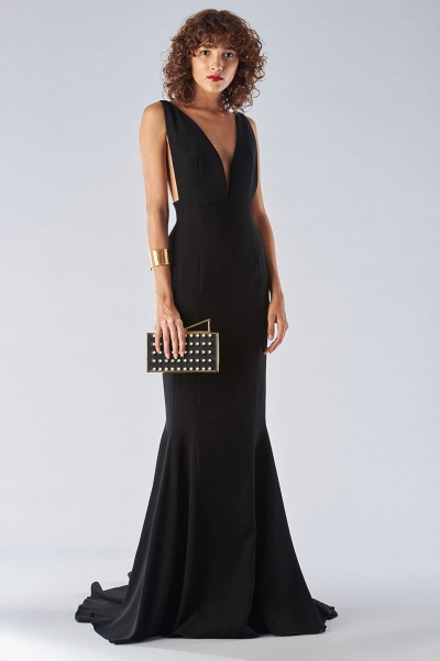 Black mermaid dress with a neckline