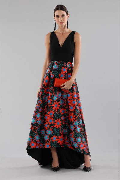 Dress with asymmetric patterned skirt