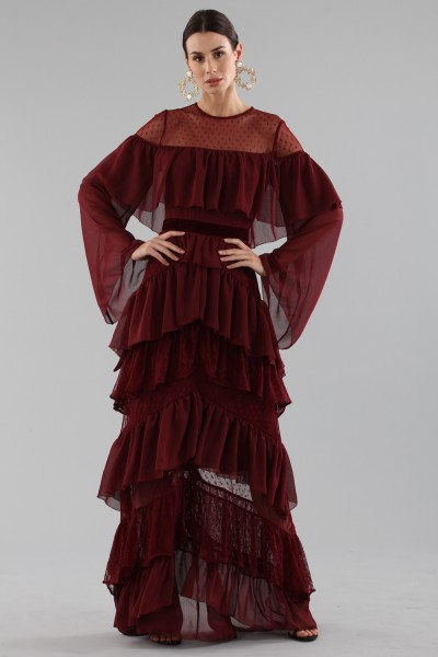 Long burgundy dress with volants