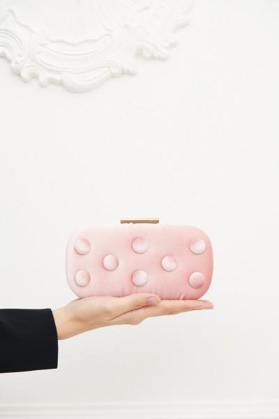 Pink velvet clutch