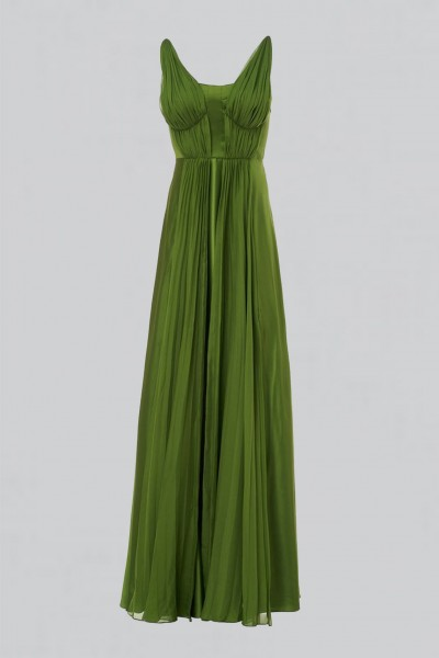 Long green dress with ruffles