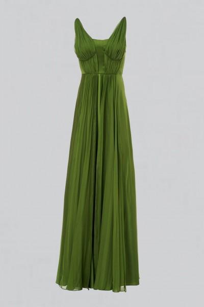 Long green dress with ruffles