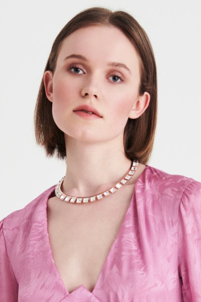 Pink gold necklace with rhinestones