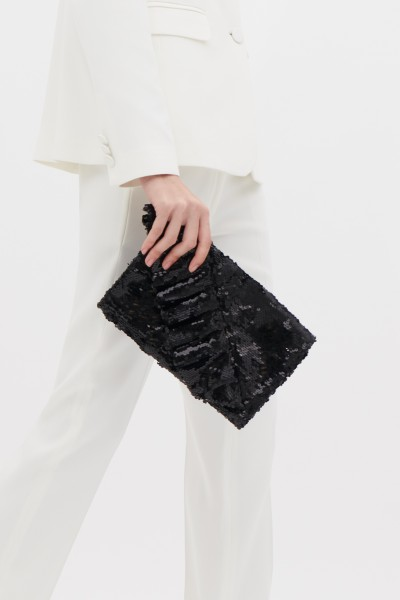 Sequin clutch with rouche
