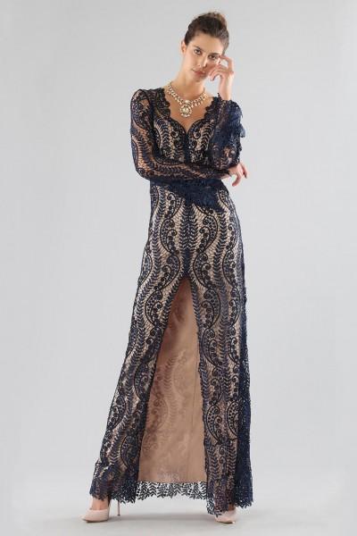 Blue lace dress with front slit