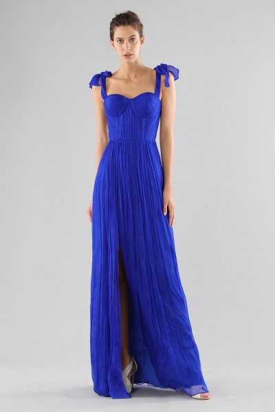Purple bustier dress with slit