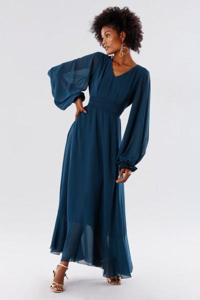 Teal dress in silk georgette