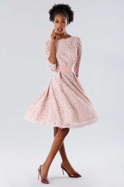 Pink lace dress with removable belt