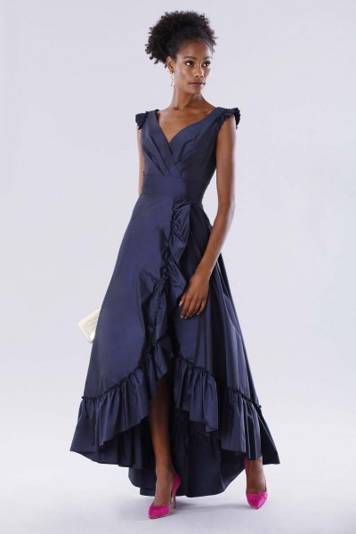 Blue taffeta dress with ruffles