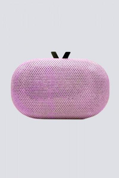 Pink clutch with rhinestones