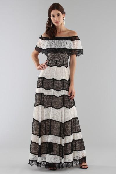 Striped lace off shoulder dress